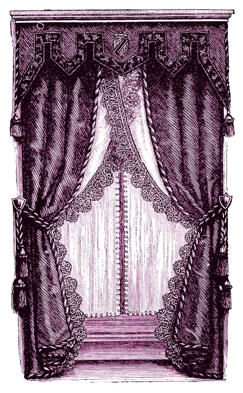 Vintage Clip Art Fancy Victorian Curtains Draperies Victorian