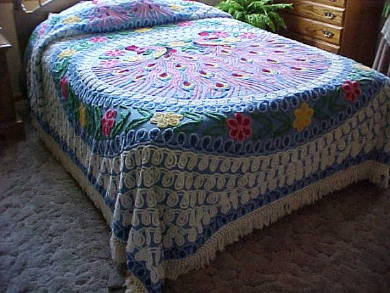 SALE 50's Peacock chenille bedspread 2 peacocksblue by designer2, $125.00
