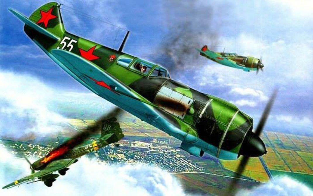 Ла-5 в атаке. | Авиация, Картины, Искусство