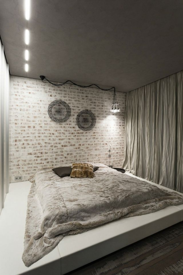 schlafzimmer modern gestalten graue decke-weiß verputzte ... - Schlafzimmer Modern Gestalten