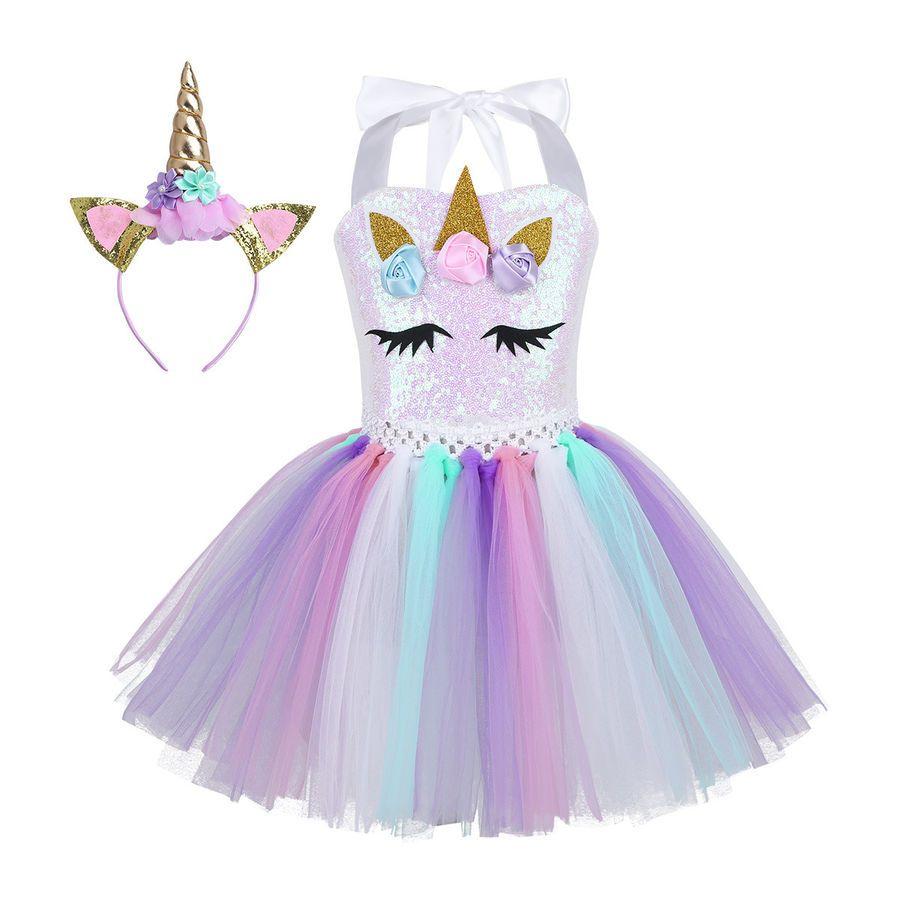 Girls Mesh Tutu Fancy Dress Hair Hoop Fairy Princess Wedding Party Kids Costume