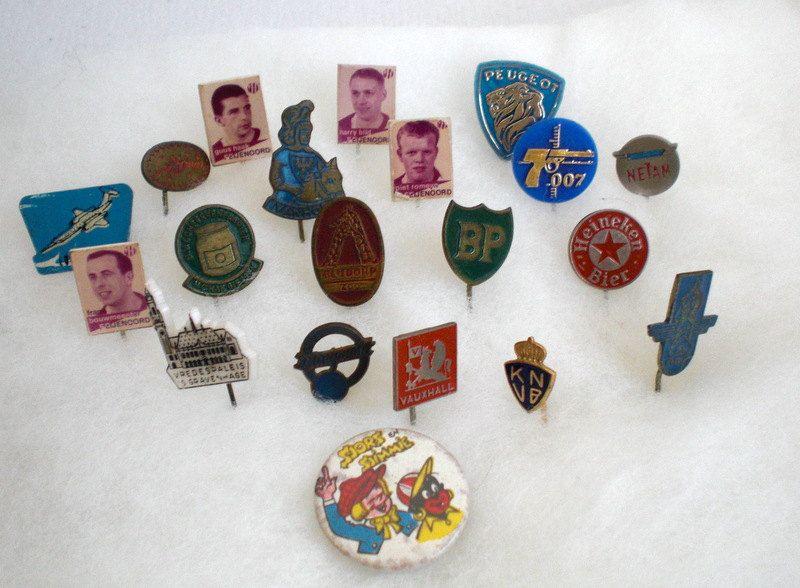 Vintage Pins, Seventeen (17) Heineken, K.N.V.B., 007, BP, Ivanhoe, Vauxhall, Colonne Rotterdam, Feijenoord, Vredespaleis,Lockheed, 1960's door VasioniVintage op Etsy