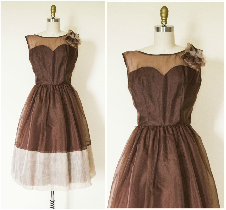 1950s brown cocktail dress / vintage 1950s nylon party dress / 1950s ...