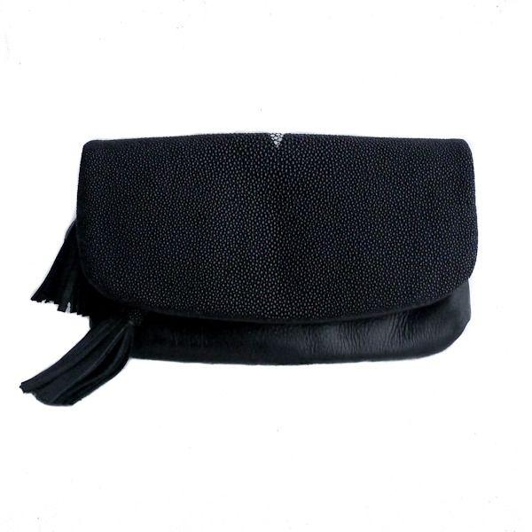 Laguna Shimmer Limited Edition Stingray Black Fold Over Clutch, designer Mary Jo Matsumoto