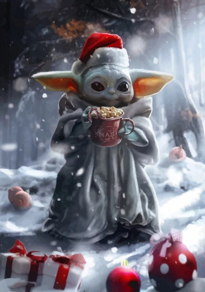 Merry Christmas Baby Yoda #babyyodawallpaper Merry Christmas to all of you! baby yoda meme… | Displate thumbnail
