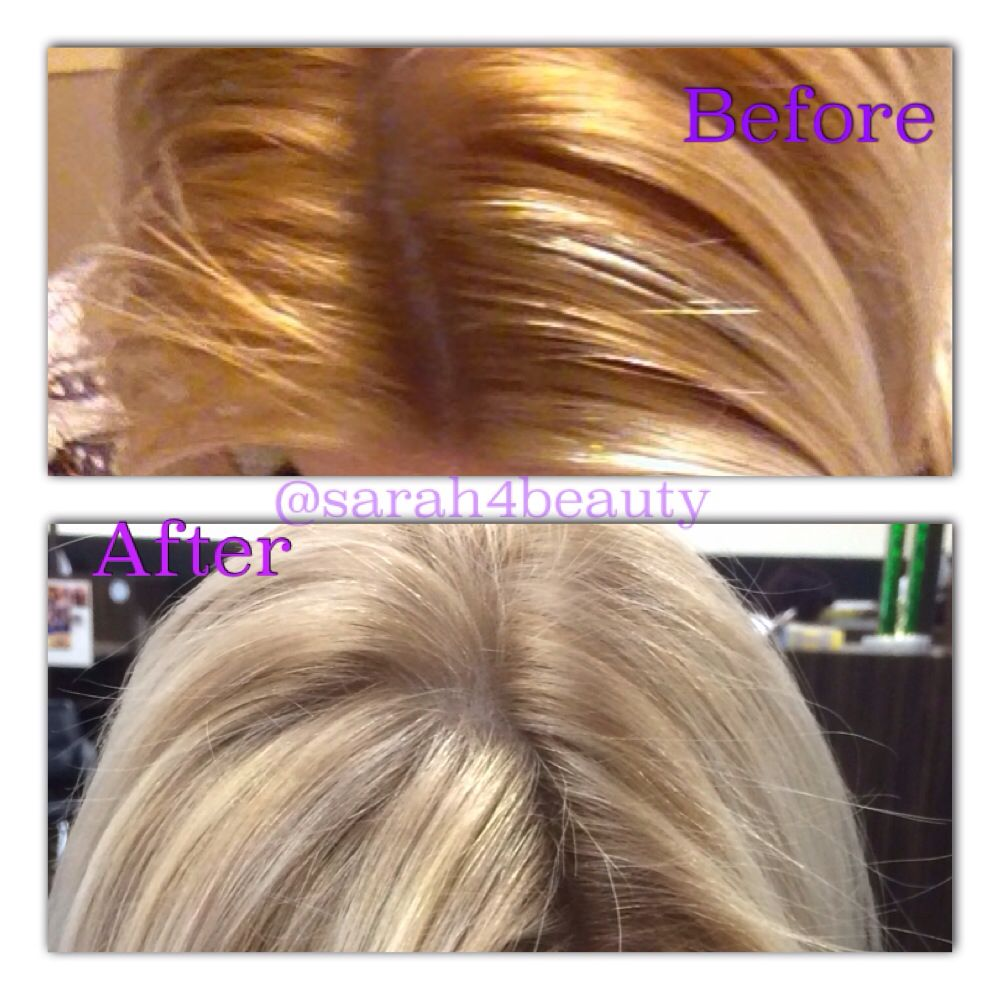 Before And After Orange Roots To Beautifully Blended Blonde