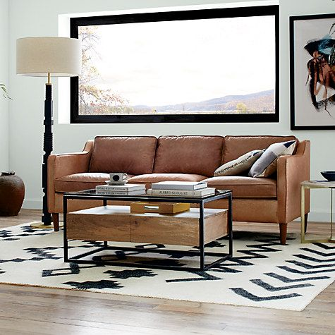 west elm industrial storage box frame coffee table | industrial