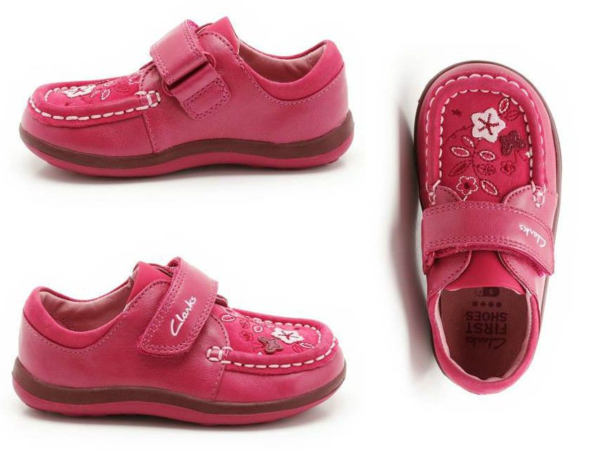 b2b9363f4f5 Clarks Alana Lou First Shoes Raspberry Girls Leather in Clothes ...