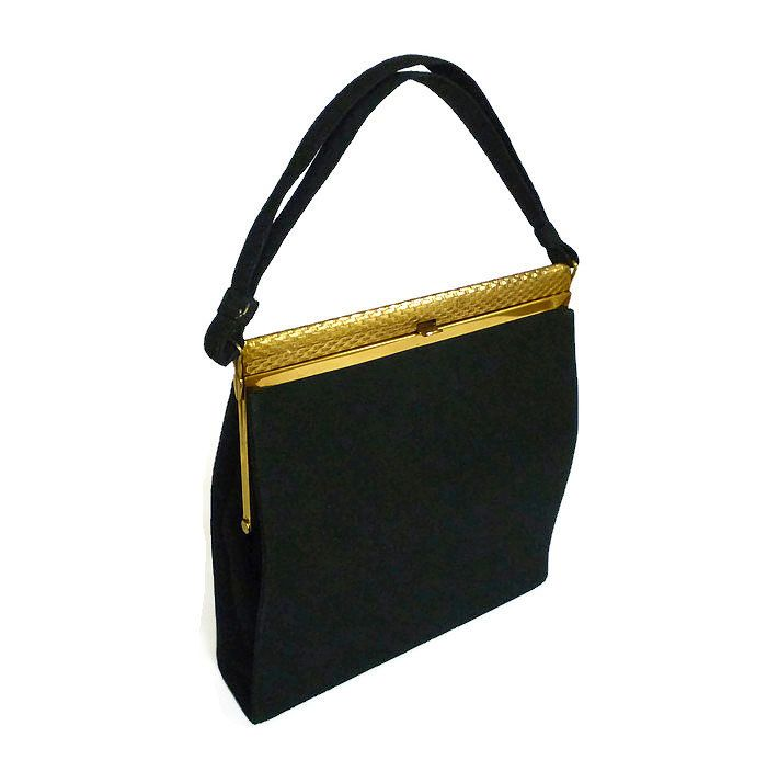 Crown Lewis, Lewis Antelle, Vintage Handbag, Black Noir, Cashmere Wool, Gold Frame, Ladies Fashion, Mid Century Mod, Purse for Her