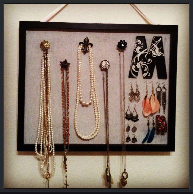 Jewlery Board Shadow Picture Frame W O Glass Door Knobs