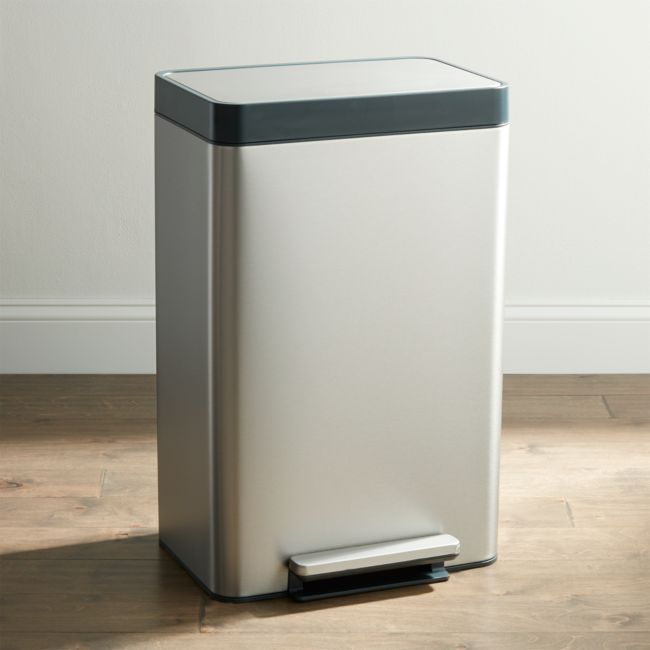 Kohler Stainless Steel 13-Gallon Step Trash Can + Reviews | Crate and Barrel