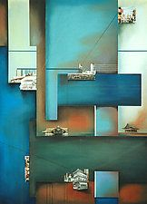 Coalescent Constructions #48 by Christian Culver (Pastel Painting)use many different squares at different levels. then add small houses.