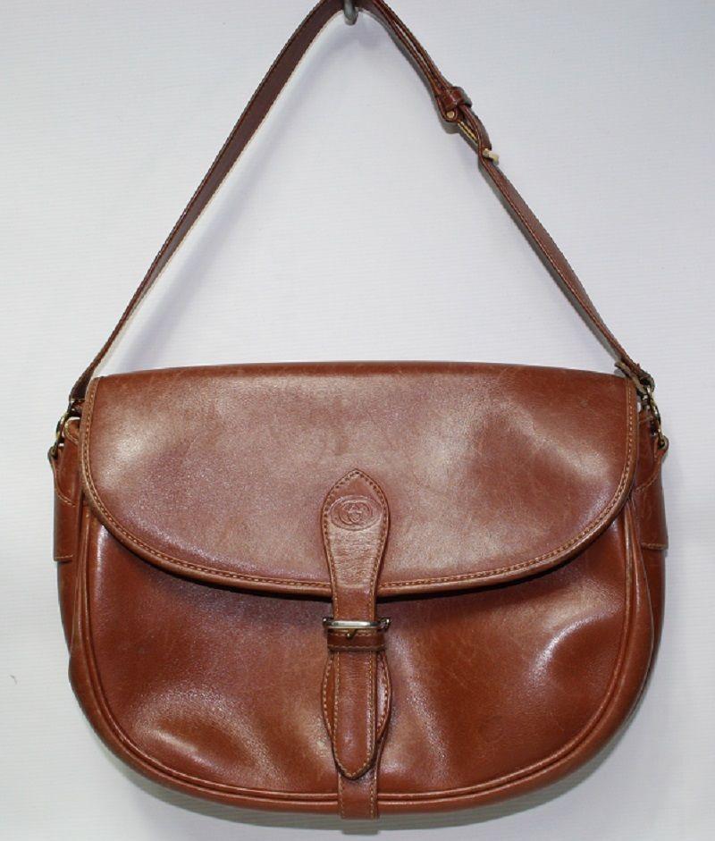 Genuine Fashion Designer Gucci Handbag Woman's Bag Vintage  Leather Tan Brown