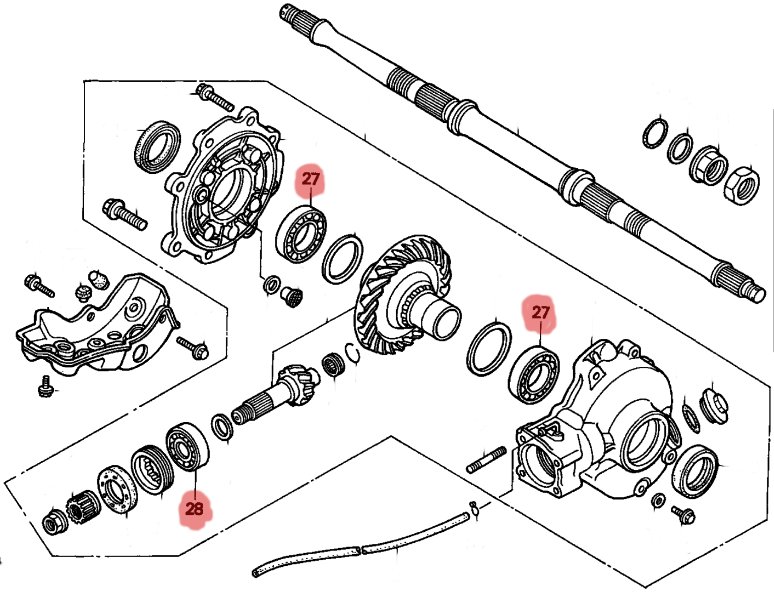 honda 300 fourtrax rear end diagram