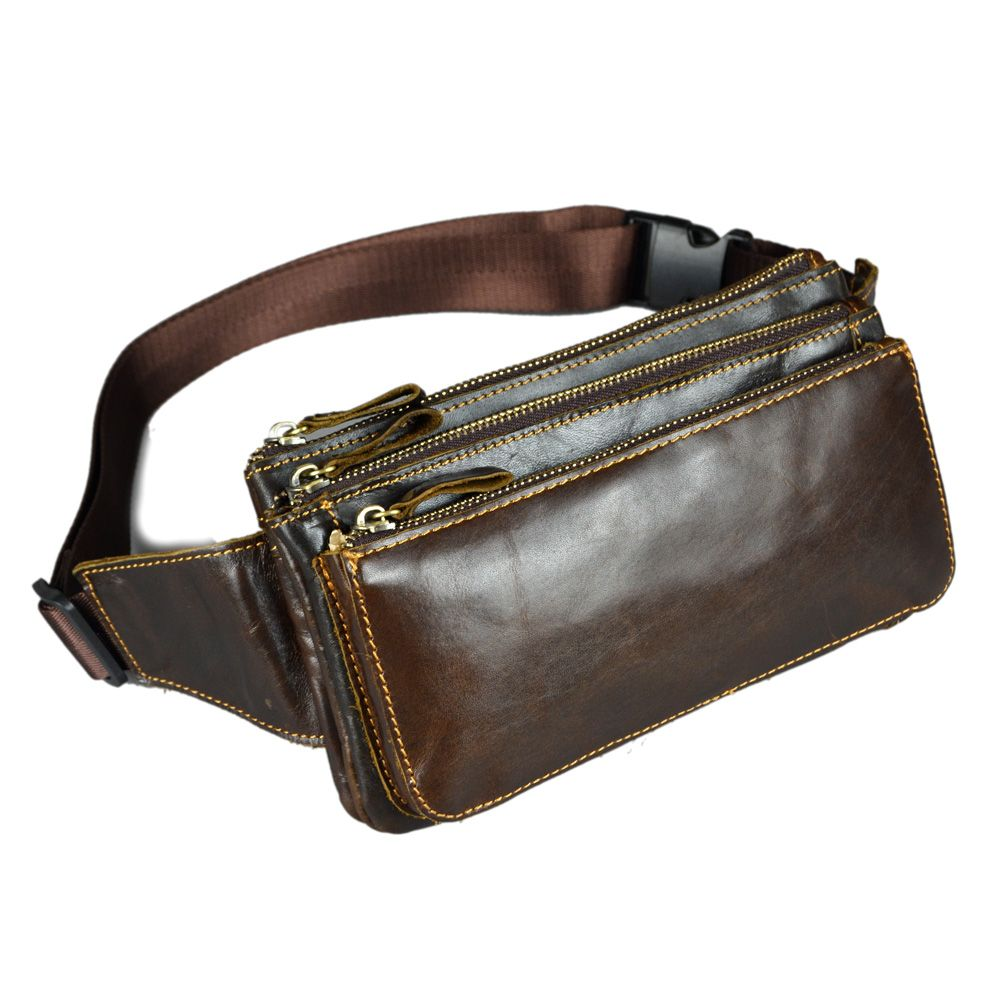 Genuine Leather Mens Chest Sling Pack Satchel Shoulder Bag Small Packs Purse USA