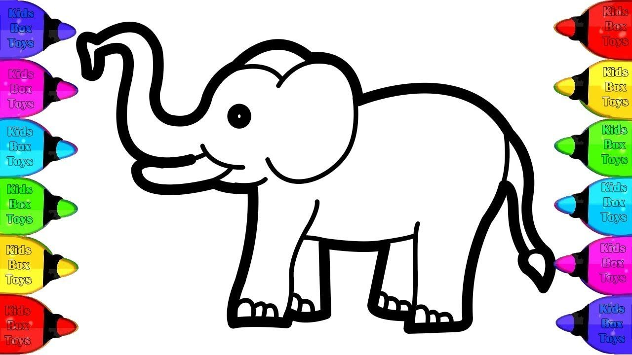 Glitter Elephant Coloring And Drawing For Kids Wild Animals