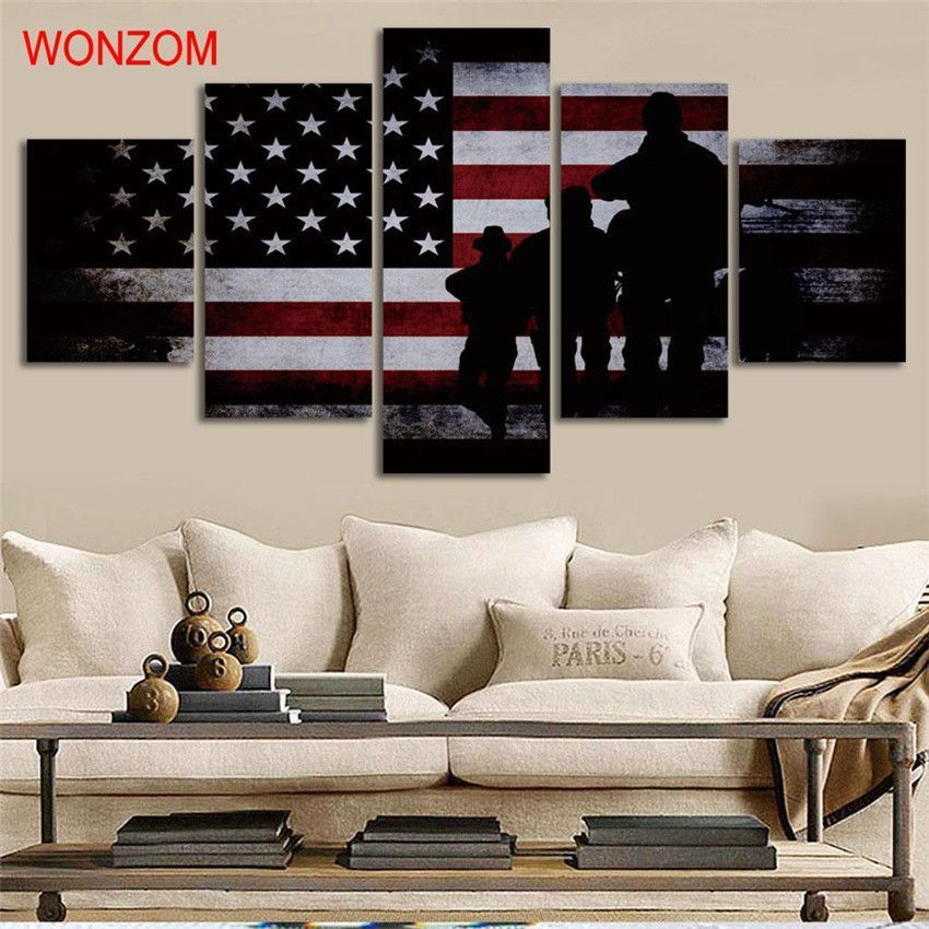 American Flag and Soldiers Painting - 5 Piece Canvas