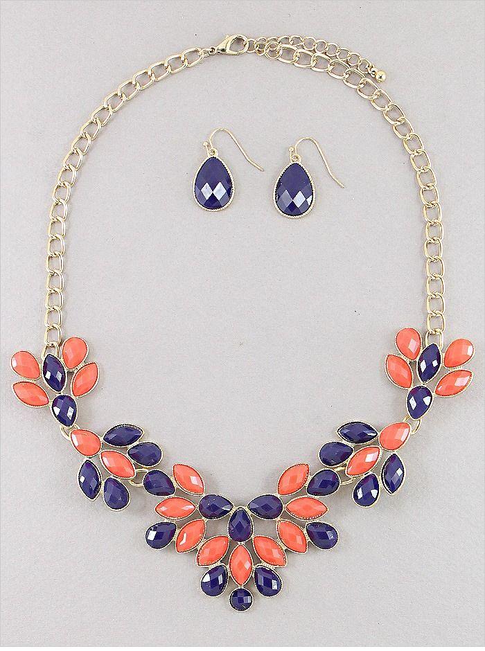 Lux Accessories Light Blue Faceted Flower Bib Necklace