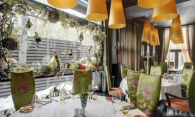 Dining Table With Floral Fabric And Chandelier Restaurant Definition