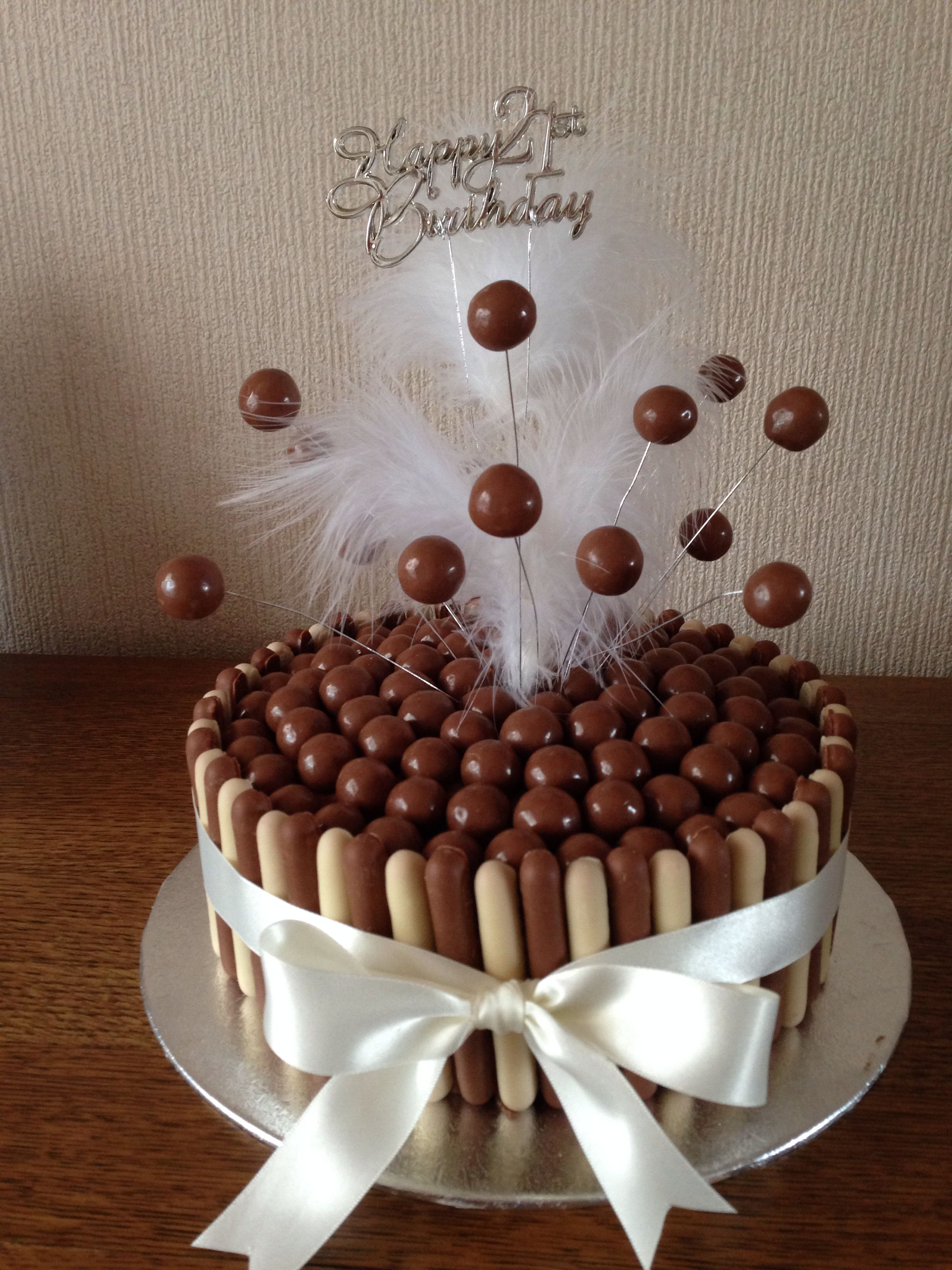 Chocolate Finger And Maltesers 21st Birthday Cake
