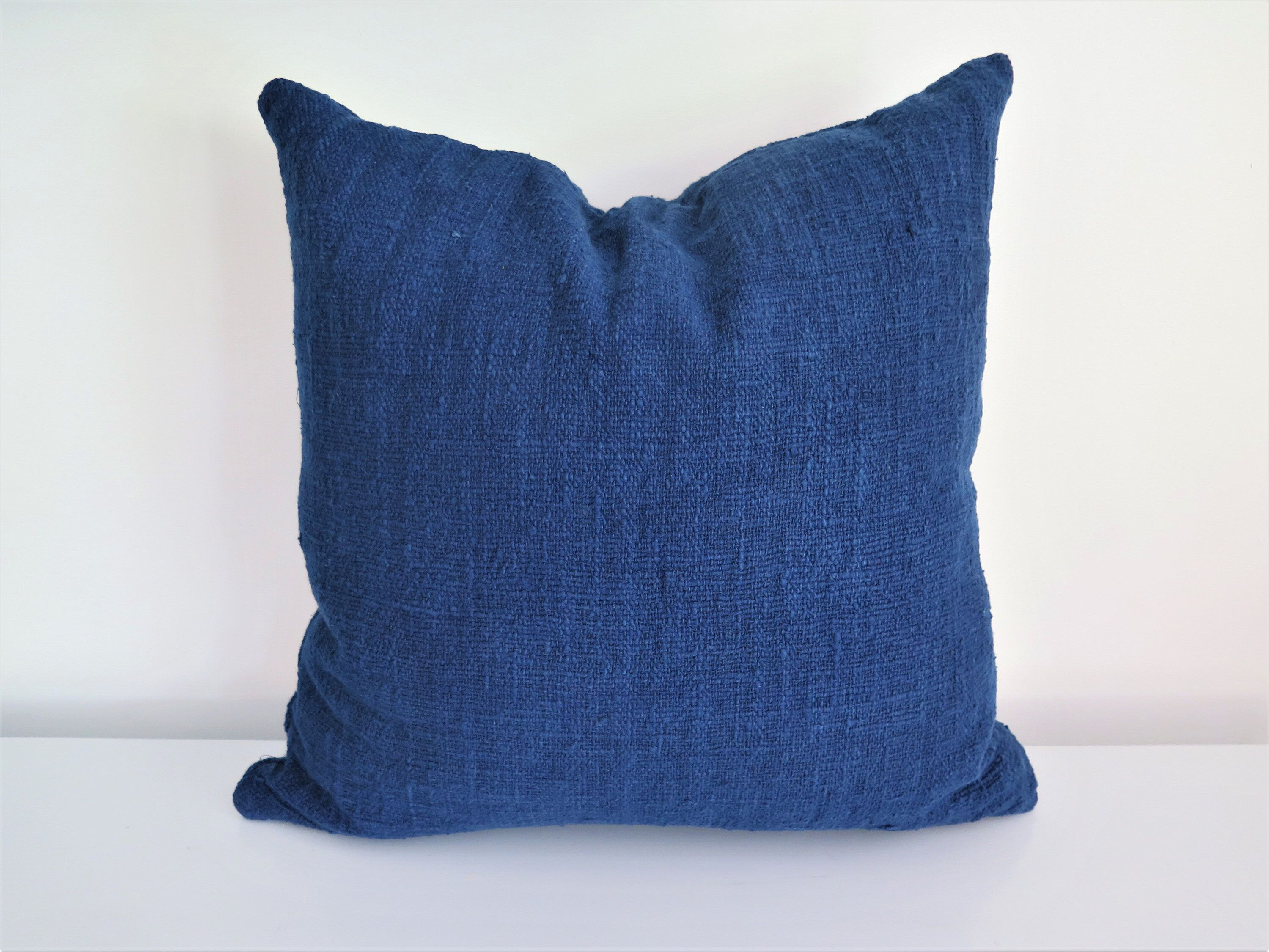 Handwoven hand dyed deep indigo raw cotton throw cushion cover x