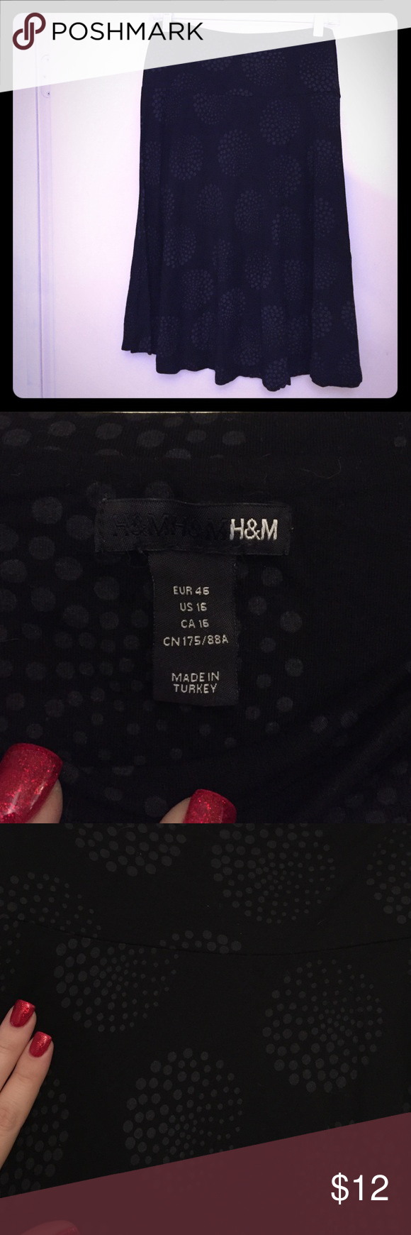 H&M Black Skirt, size 16 Black skirt printed with a dark gray circle pattern. Soft, stretchy, flowy material. 26 inches long. EUC H&M Skirts