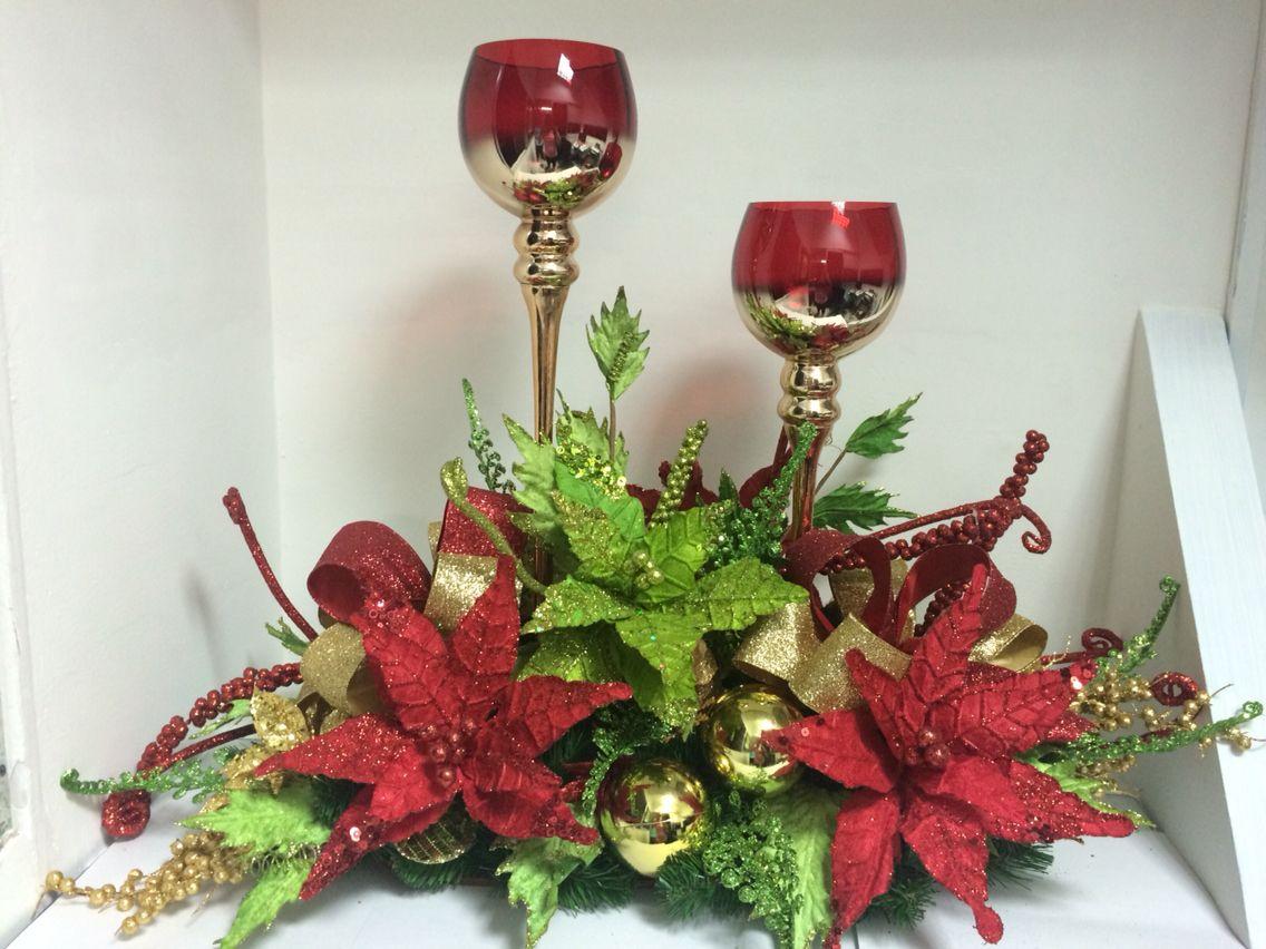 Centro de mesa con copas navidad pinterest copa for Centros navidenos