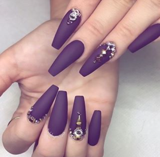 Dark Purple And Gold Winter Nails Plum Nails Purple Nails Coffin Nails Designs