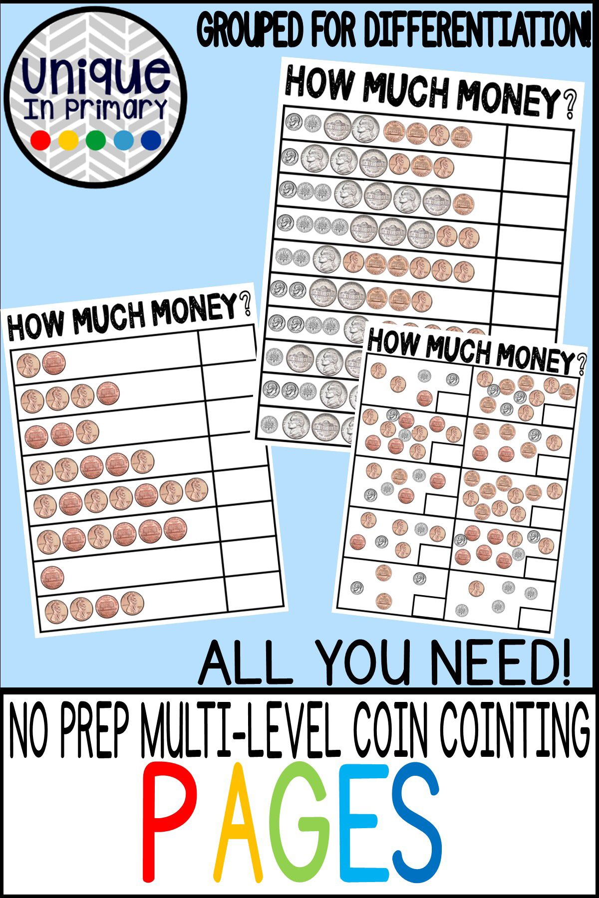Counting Coins No Prep Worksheets Multi Level