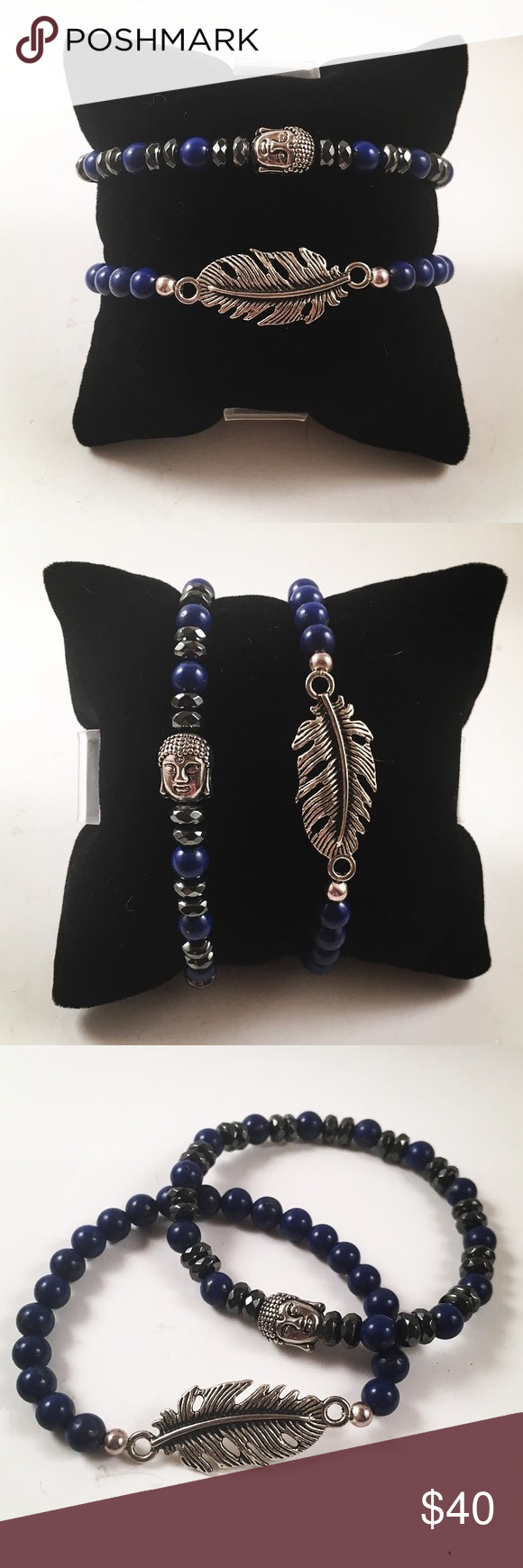 Set of two bracelets.Buddha/leaf/boho/gemstones Set of two bracelets. Handmade, never worn by anyone. One has a buddha charm , the other one has a leaf. Made out of tibetan silver for charms and blue lapis and hematite gemstones. Fits 6 to 7 inch wrist. I ship fast!!✈️ Free gift with every purchase!! Jewelry Bracelets