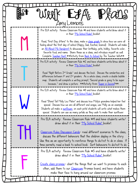 First Week English/Language Arts Lesson Plans - FREE Printable ...