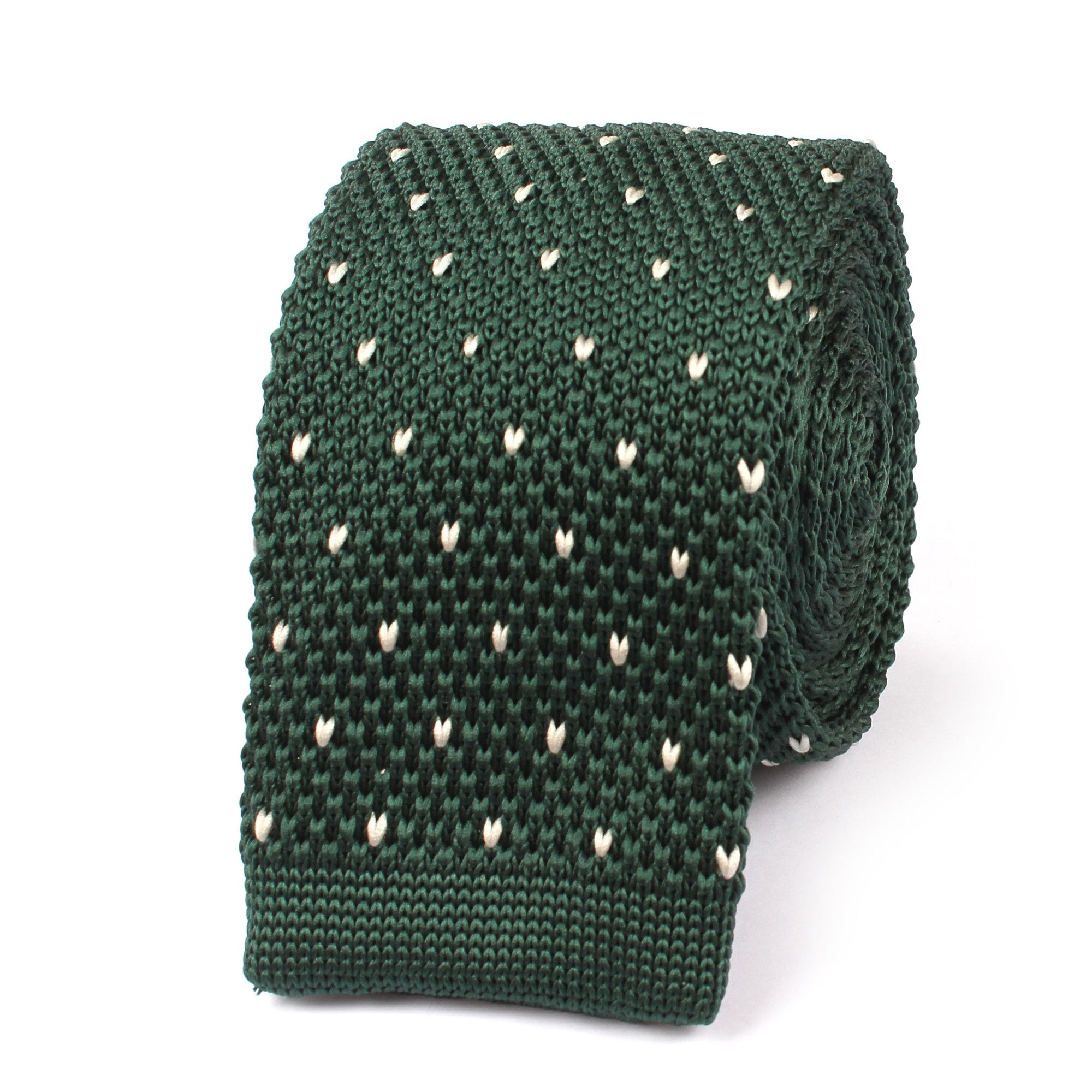 Forest Green & White Pattern Knitted Tie | Knit tie, White patterns ...