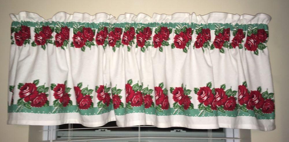 Vintage Style Kitchen Curtain Valance Hand Made 36 Granny Rose Aqua Rodeo Ebay Curtinas