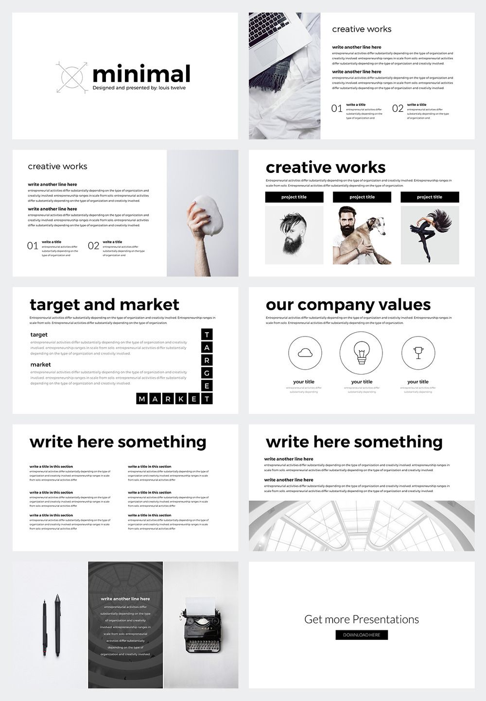 e magazine templates free download - ppt free minimal powerpoint template