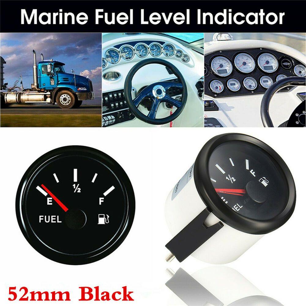 Black 52MM Fuel Level Gauge 240-33 ohms 12-24VDC For Car Truck Marine Universal