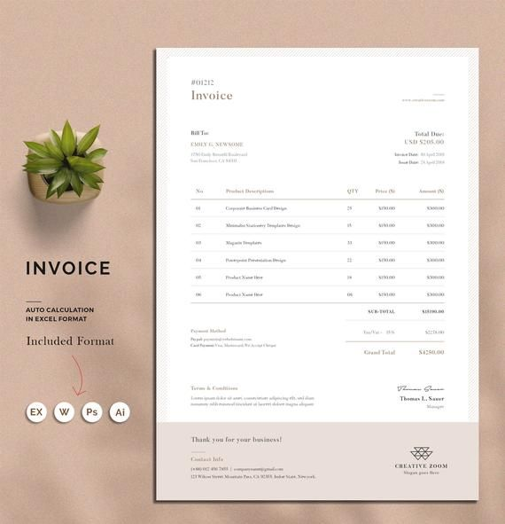 Invoice Template Estimate Quotation Receipt Printable Invoice Word Invoice Stationery Excel Invoice Digital Download Invoice Design Printable Invoice Invoice Template