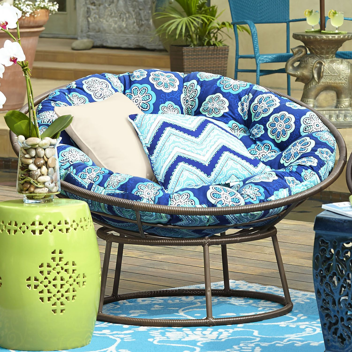 Must get an outdoor cushion for the papasan chair & give it some outdoor paint! Would be awesome for the porch!!