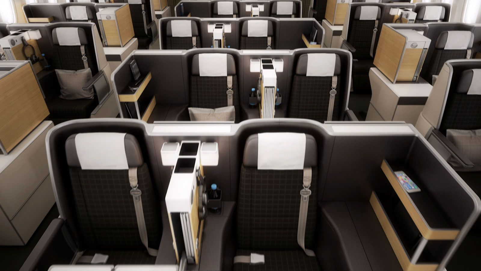 Business Class, SWISS 777300ER cabin interior