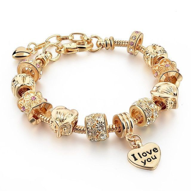 Crystal Heart Gold Color Charm Bracelet For Girl Glass Beads Bracelet For Women DIY Jewelry Gift Pure Gold Color 19cm