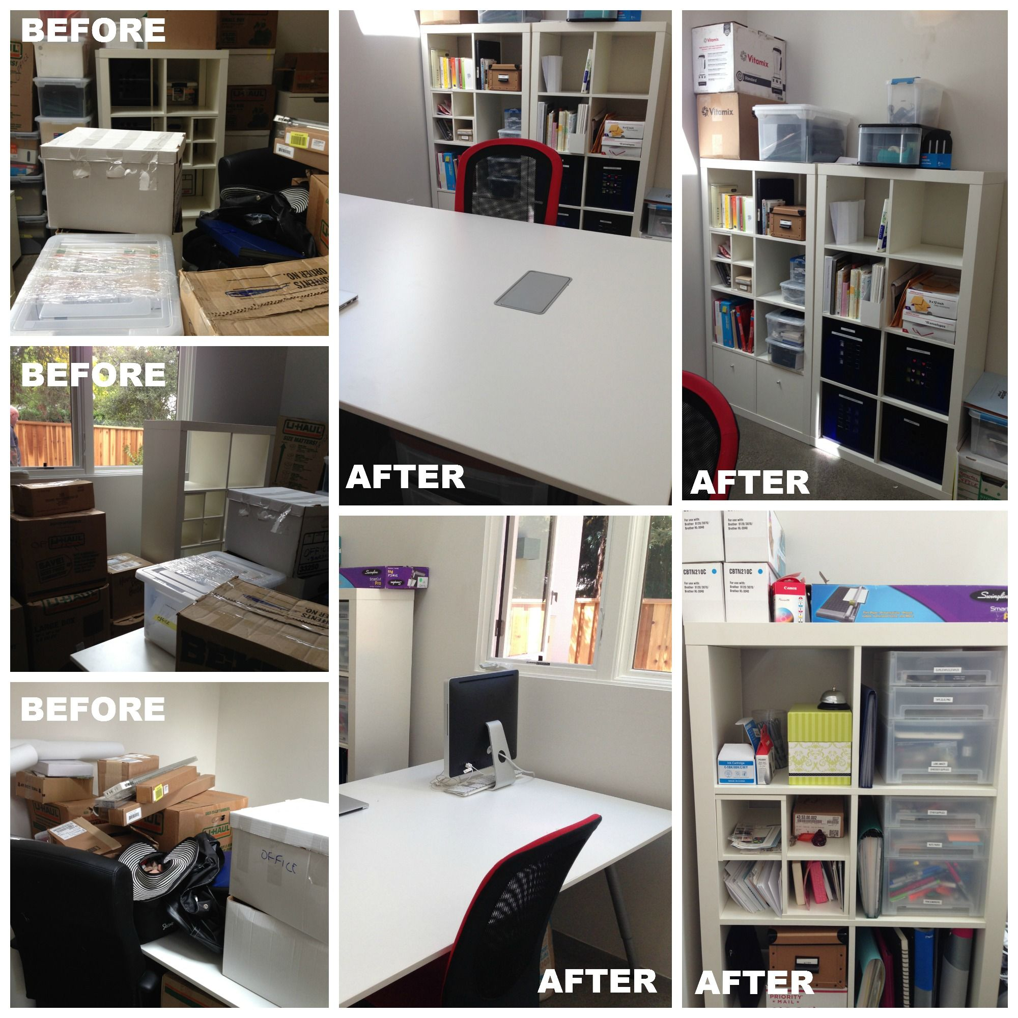 The unpacked boxes sat for days after the move. The home office needed to be unpacked and made functional fast. The end result is a transformation.