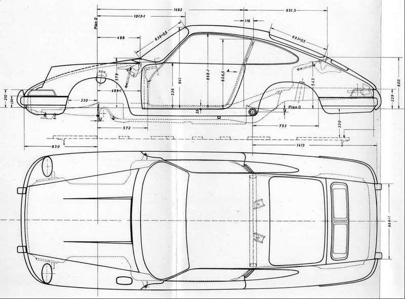 Swb Chassis Dimension Diagrams Vintage Porsche Blueprints Porsche 911