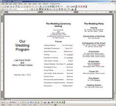 tri fold wedding programs template free