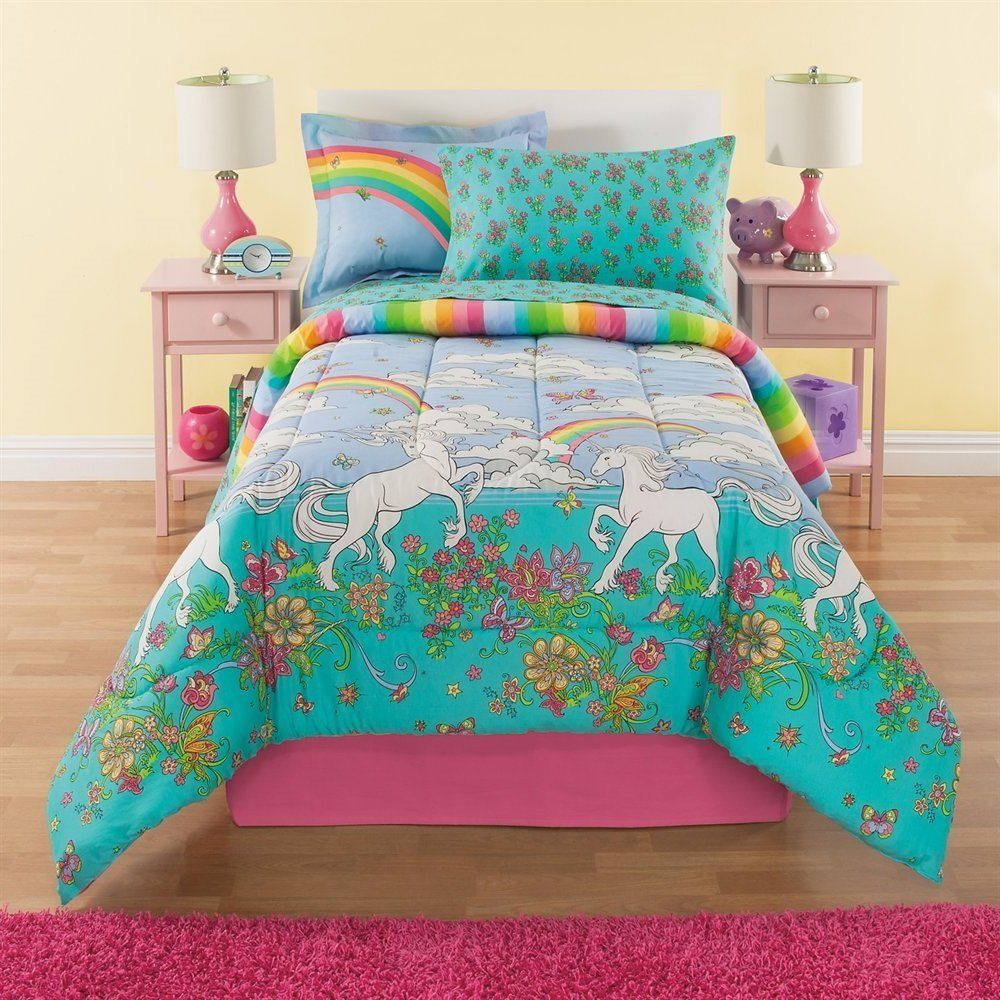 6 Piece Girls Unicorn Rainbow Comforter Set