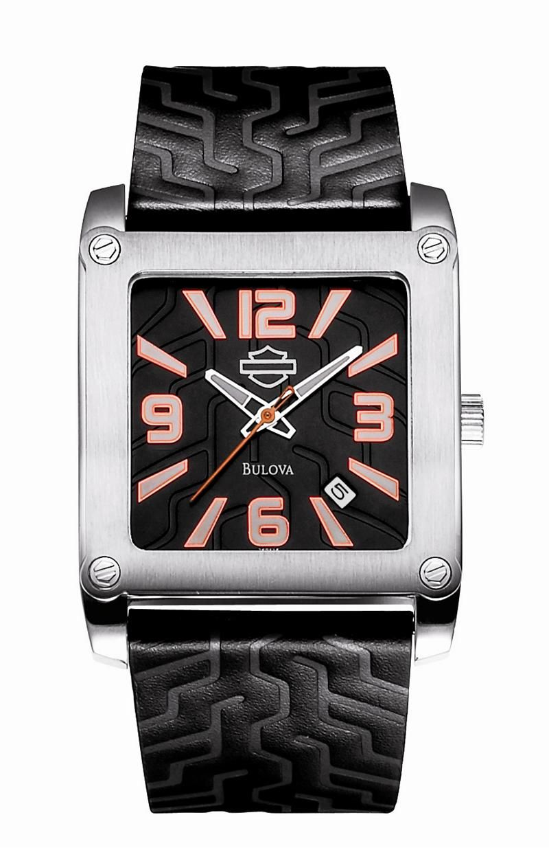mens harley davidson black leather treat watch by bulova 76b145 mens harley davidson black leather treat watch by bulova 76b145