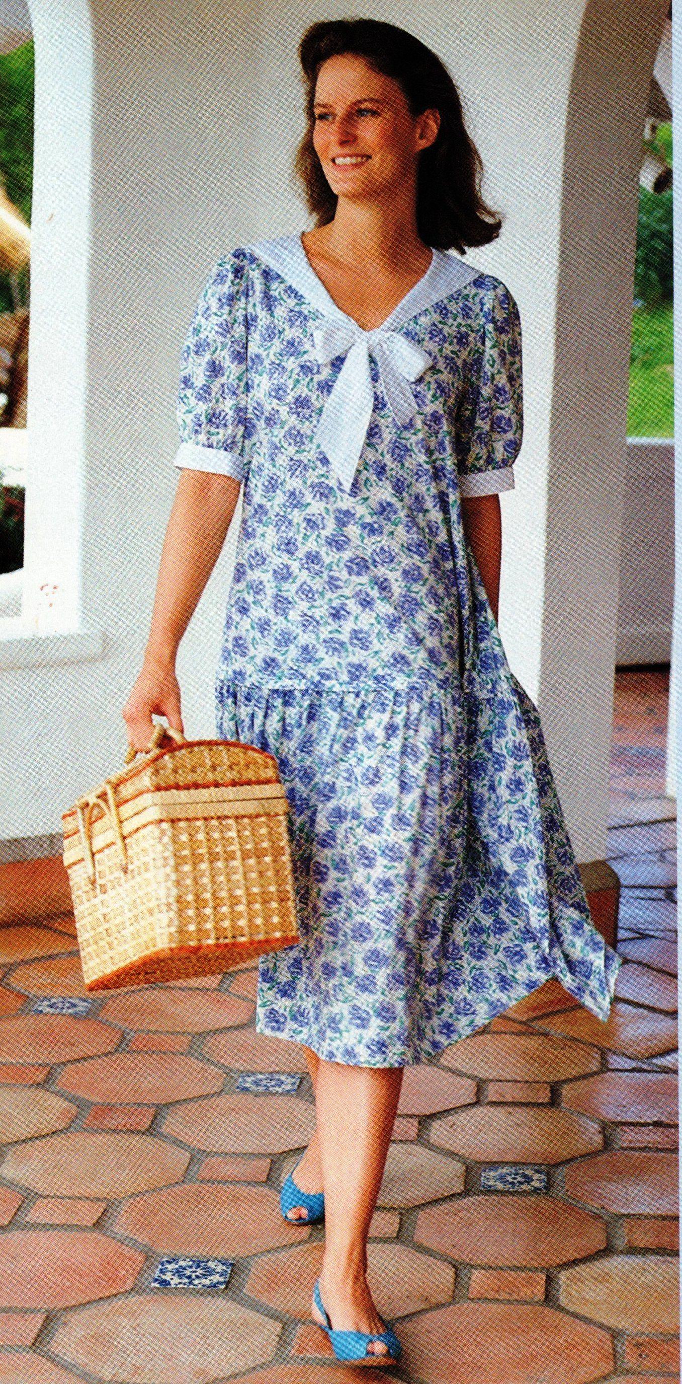 laura ashley summer 1990 slip on floral day dress with. Black Bedroom Furniture Sets. Home Design Ideas