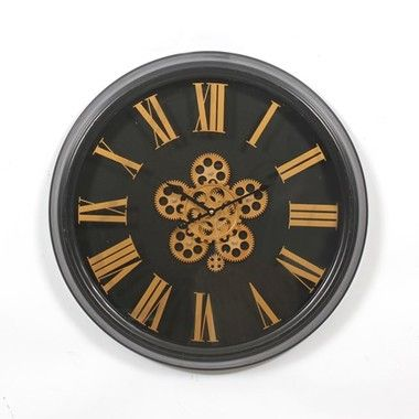 Black And Gold 24 Antique Wall Clock With Movement Gears