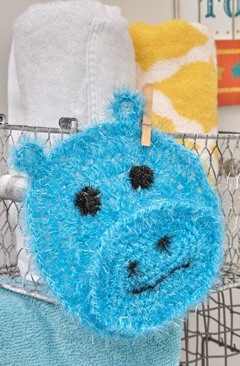 Free Happy Hippo Face Scrubby Crochet Pattern from www.RedHeart.com ...
