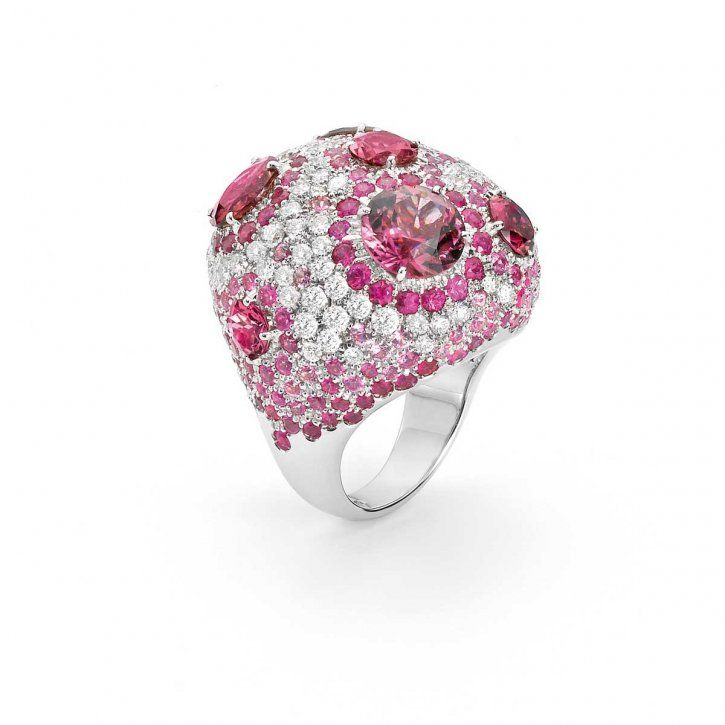 White gold ring with diamonds, pink sapphires and tourmalines by Roberto Coin