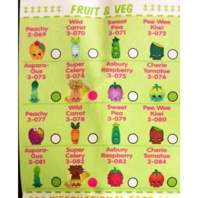 Shopkins List Fruit And Veg