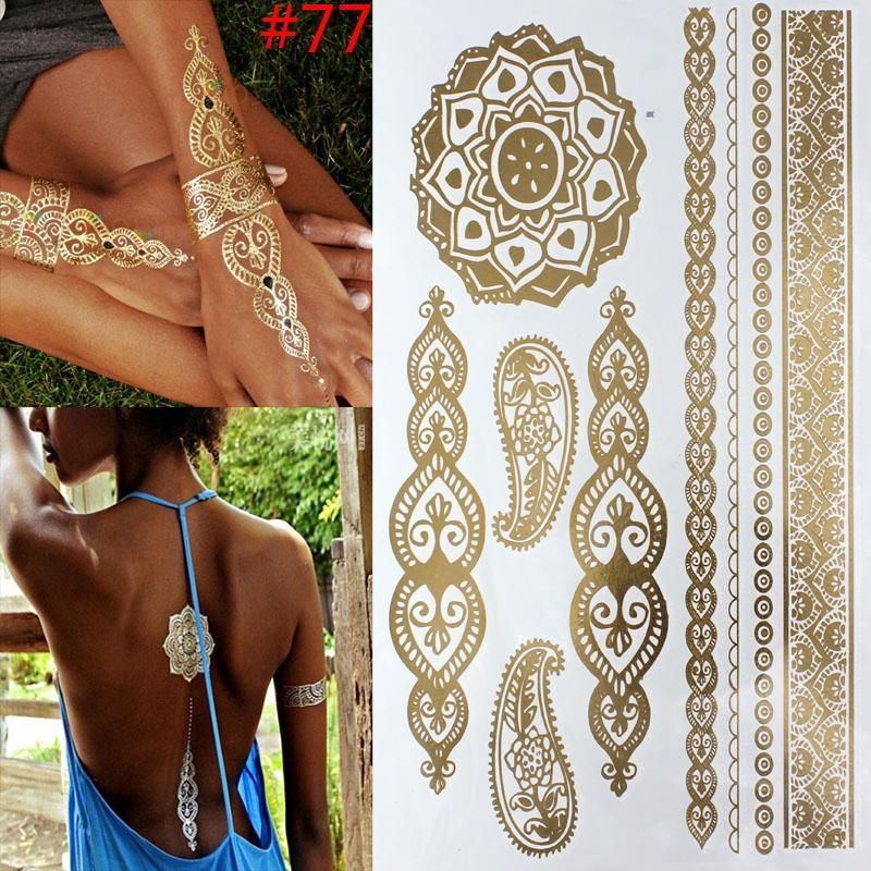 Gold Metallic Temporary Tattoo Gold Tattoo Metal Tattoo Gold Temporary Tattoo